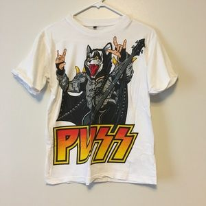PUSS Kiss T-shirt funny small
